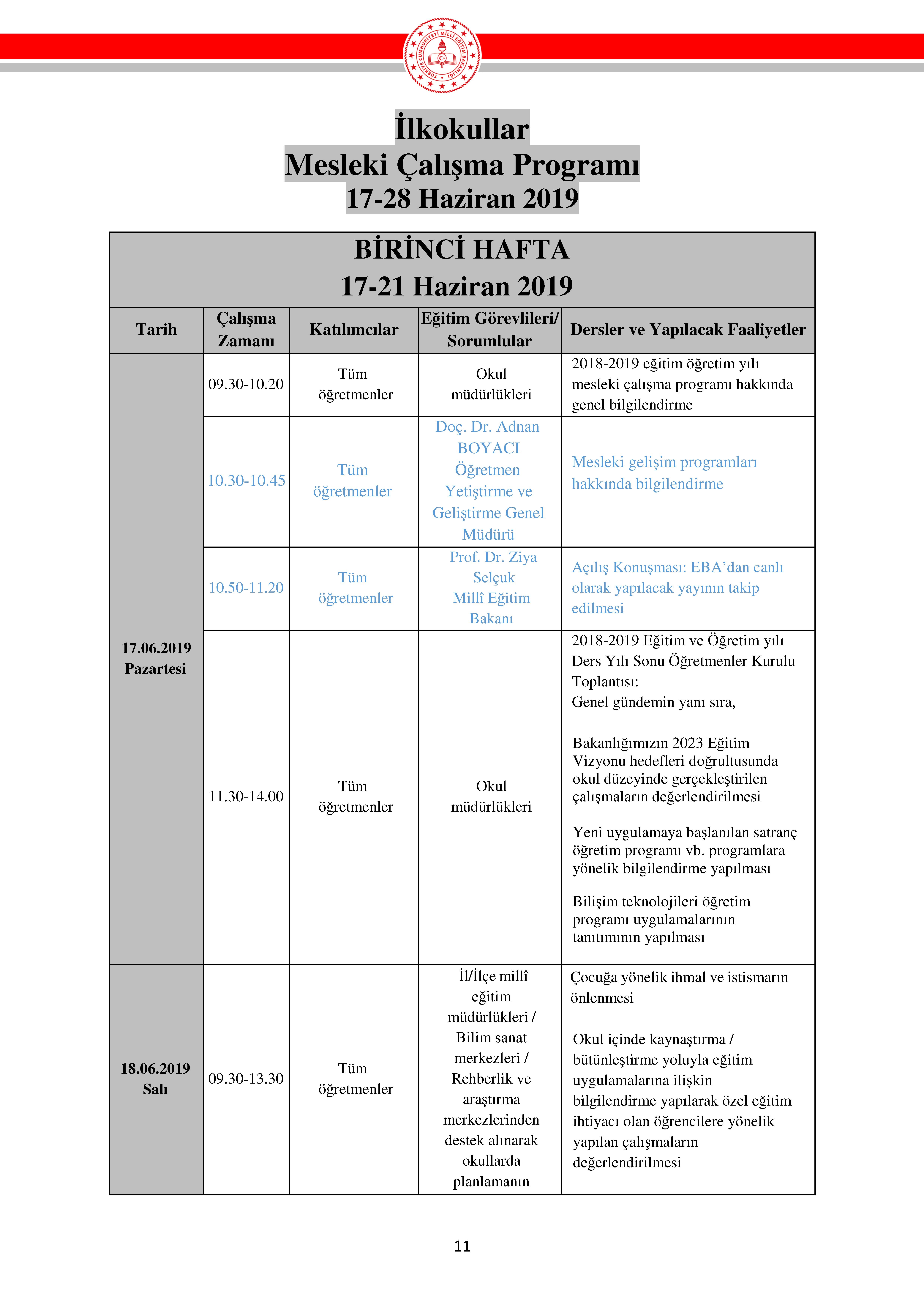 2019 Haziran Semineri Calisma Programi Anaokulu Ilkokul Ortaokul