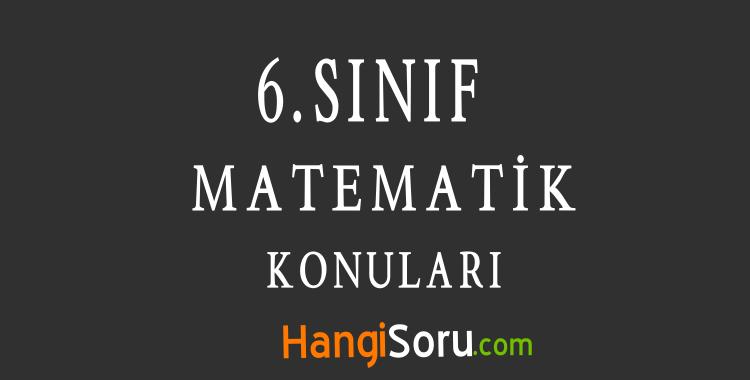 6. Sınıf Matematik Konuları