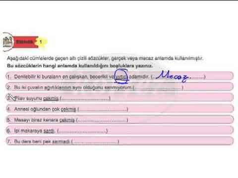 8. Sınıf Türkçe Sözcükte Anlam Konu Anlatımı